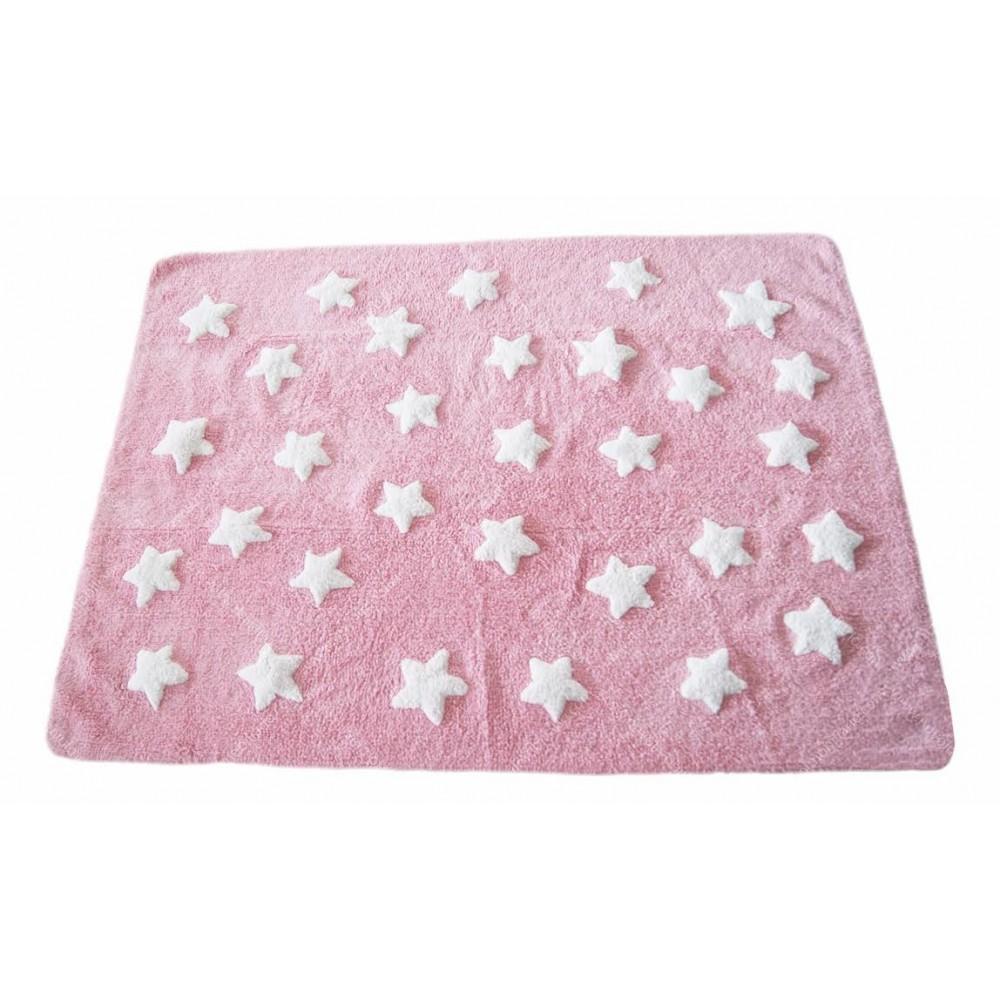 Alfombra Estrellas Nuvol Rosa/Blanco